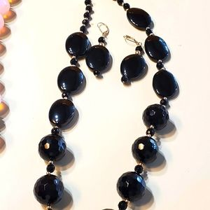 Black onyx necklace with  earrings